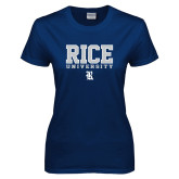 Ladies Navy T Shirt-Rice University Stacked