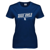 Ladies Navy T Shirt-Rice Owls Fancy Lines