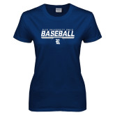 Ladies Navy T Shirt-Baseball