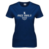 Ladies Navy T Shirt-Basketball