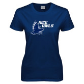 Ladies Navy T Shirt-Rice Owls Full Owl