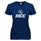 Ladies Navy T Shirt-Rice Owl Head Stacked