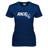 Ladies Navy T Shirt-Rice With Owl Head