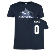 Ladies Navy T Shirt-Rice Owls Football We Give A Hoot