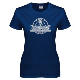Ladies Navy T Shirt-Womens Basketball Invitational Champions Ball