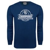 Navy Long Sleeve T Shirt-Womens Basketball Invitational Champions Ball