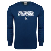 Navy Long Sleeve T Shirt-Womens Basketball Invitational Champions Stencil
