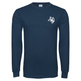 Navy Long Sleeve T Shirt-Owl Head