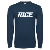 Navy Long Sleeve T Shirt-Rice