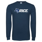 Navy Long Sleeve T Shirt-Owl Head Rice
