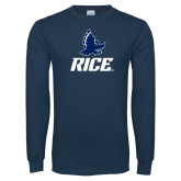 Navy Long Sleeve T Shirt-Full Owl Rice Stacked