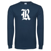 Navy Long Sleeve T Shirt-R Distressed