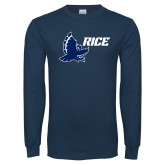 Navy Long Sleeve T Shirt-Full Owl Rice