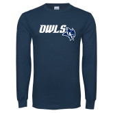 Navy Long Sleeve T Shirt-Owls With Owl Head