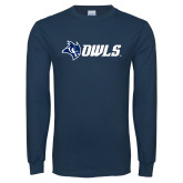 Navy Long Sleeve T Shirt-Owl Head Owls