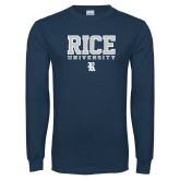 Navy Long Sleeve T Shirt-Rice University Stacked