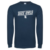 Navy Long Sleeve T Shirt-Rice Owls Fancy Lines