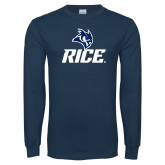 Navy Long Sleeve T Shirt-Rice Owl Head Stacked