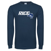 Navy Long Sleeve T Shirt-Rice With Owl Head