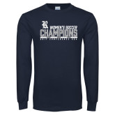Navy Long Sleeve T Shirt-2017 Womens Soccer Champions - Bar Design