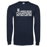 Navy Long Sleeve T Shirt-2017 Womens Soccer Champions - Bar Design