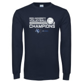 Navy Long Sleeve T Shirt-2018 Rice Regular Season Volleyball Champions