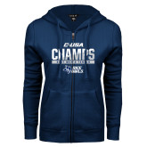 ENZA Ladies Navy Fleece Full Zip Hoodie-Conference USA Mens Tennis Champions