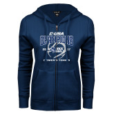 ENZA Ladies Navy Fleece Full Zip Hoodie-Conference USA Womens Tennis Champions
