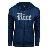 ENZA Ladies Navy Fleece Full Zip Hoodie-Rice Wordmark