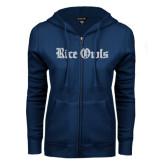 ENZA Ladies Navy Fleece Full Zip Hoodie-Rice Owls Wordmark