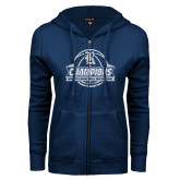 ENZA Ladies Navy Fleece Full Zip Hoodie-Womens Basketball Invitational Champions Ball