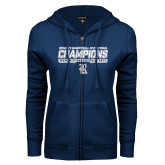 ENZA Ladies Navy Fleece Full Zip Hoodie-Womens Basketball Invitational Champions Stencil