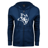 ENZA Ladies Navy Fleece Full Zip Hoodie-Owl Head