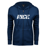 ENZA Ladies Navy Fleece Full Zip Hoodie-Rice