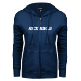 ENZA Ladies Navy Fleece Full Zip Hoodie-Rice Owls