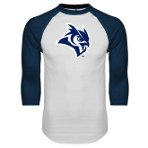 White/Navy Raglan Baseball T Shirt-Owl Head