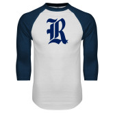 White/Navy Raglan Baseball T Shirt-R