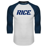 White/Navy Raglan Baseball T Shirt-Rice