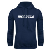 Navy Fleece Hoodie-Rice Owls