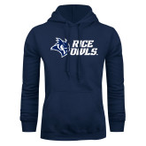 Navy Fleece Hood-Rice Owls Stacked