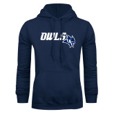 Navy Fleece Hoodie-Owls With Owl Head