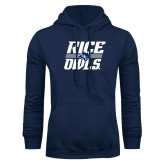 Navy Fleece Hoodie-Rice Owls Stacked
