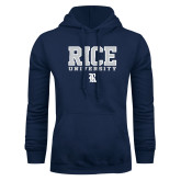 Navy Fleece Hoodie-Rice University Stacked