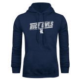 Navy Fleece Hoodie-Rice Owls Fancy Lines