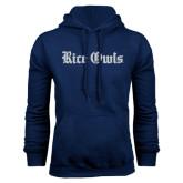 Navy Fleece Hood-Rice Owls Wordmark