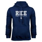 Navy Fleece Hood-Rice University Stacked