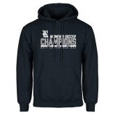 Navy Fleece Hoodie-2017 Womens Soccer Champions - Bar Design