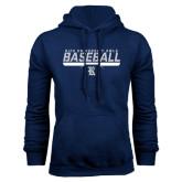 Navy Fleece Hood-Stencil Baseball Design