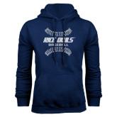 Navy Fleece Hood-Double Stiches Baseball Design