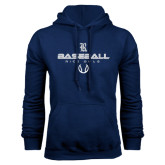 Navy Fleece Hood-Stacked Baseball Design